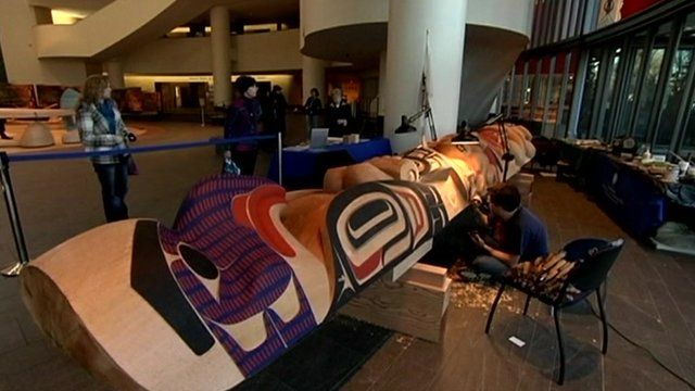 A totem pole being carved by David Boxley