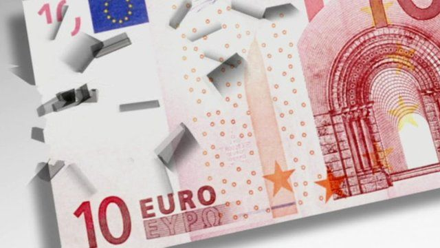 Graphic showing a 10 euro note being fragmented
