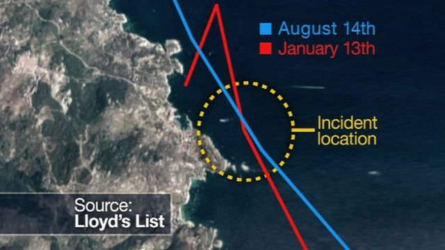 Graphic showing how close the Costa Concordia got to the island of Giglio