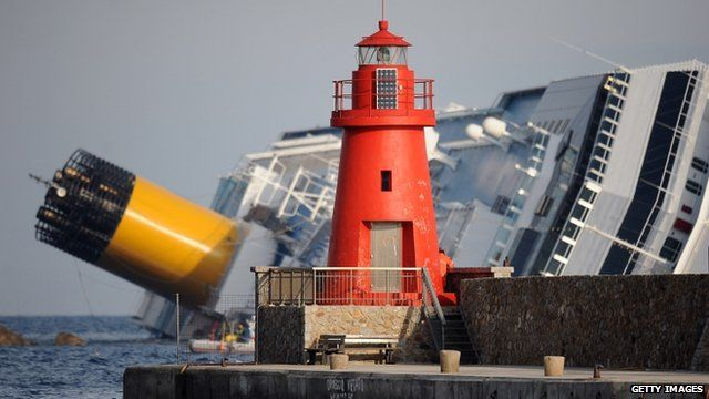 Lighthouse on Giglio, in front of Costa Concordia on her side