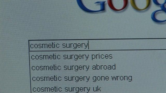 Internet search for cosmetic surgery