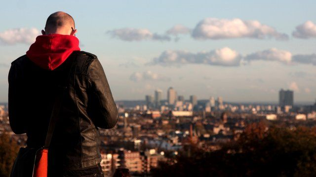 Man overlooking London