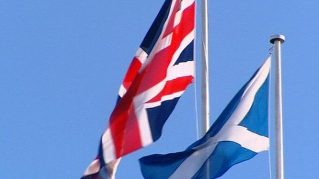 Union Jack and Saltire blowing in the wind