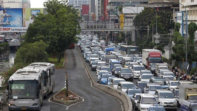 A traffic jam in central Jakarta, Indonesia