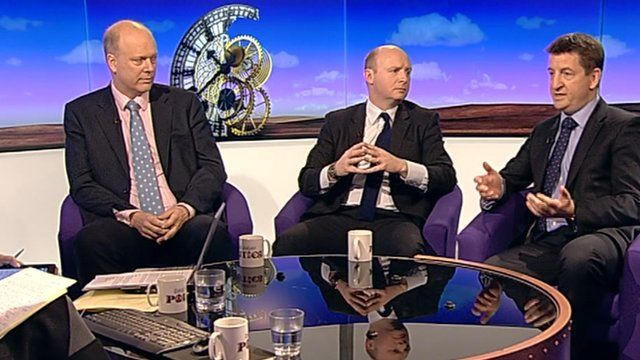 Chris Grayling, Liam Byrne and Mark Adams