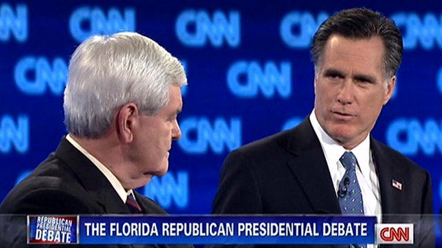 Republican front-runners Mitt Romney and Newt Gingrich