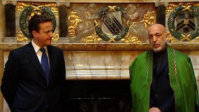 David Cameron with Afghan President, Hamid Karzai