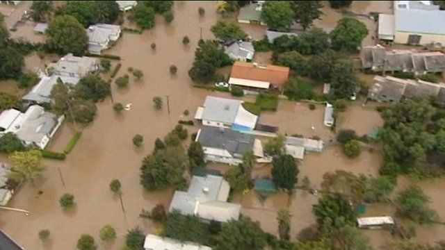 Aerial view of submerged residential streets in the town of Mitchell, Australia