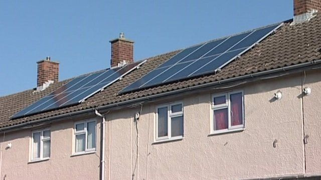 Solar panels on council houses in Harlow