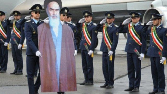 A cardboard cut-out version of the late Ayatollah Khomeini in Tehran.