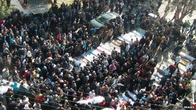 Mass funeral in Homs