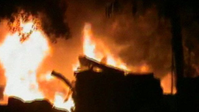 Fire believed to be in Homs, Syria