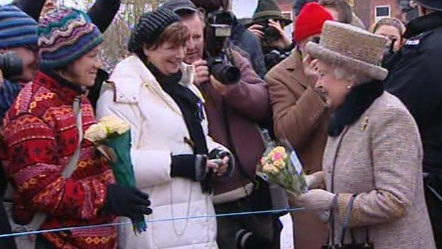 The Queen greets members of the public at Sandringham