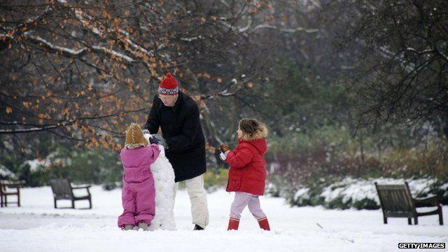 Snowy scene in London