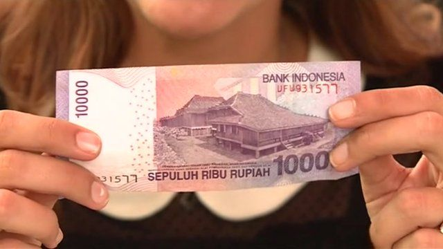 A 10,000 Indonesian rupiah note