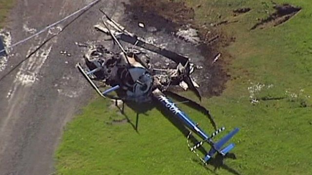 The crashed helicopter in Australia