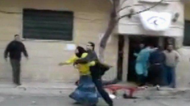 Footage uploaded onto YouTube shows the scene outside a field hospital