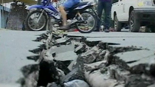 Damage caused by the earthquake in the Philippines