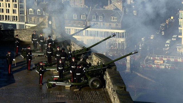 Cannons are fired from Edinburgh Castle