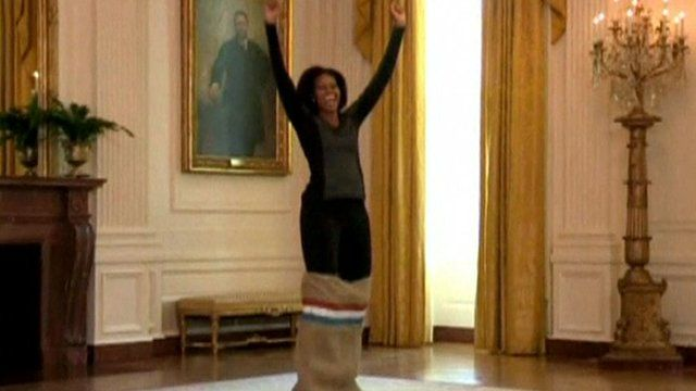 Michelle Obama wins sack race - Courtesy Late Night with Jimmy Fallon