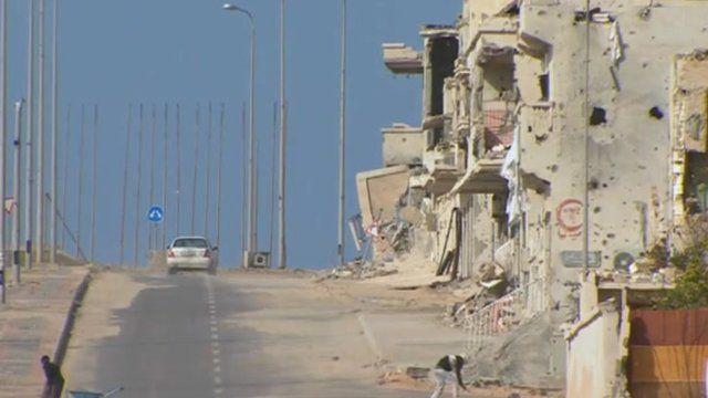 Ruined buildings in Sirte