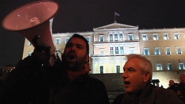 Protesters outside the Greek Parliament
