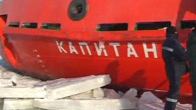 Ship stuck on Kerch Strait in the frozen sea