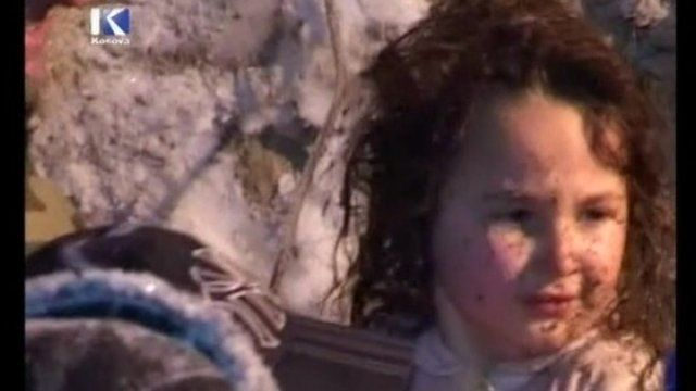 Young girl rescued from an avalanche in Kosovo