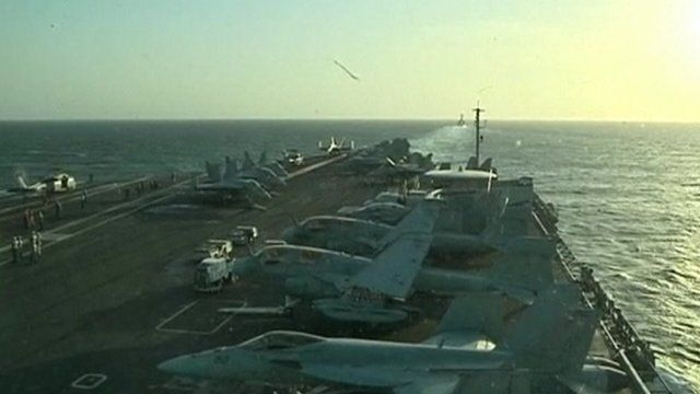 Flight deck of the USS Abraham Lincoln