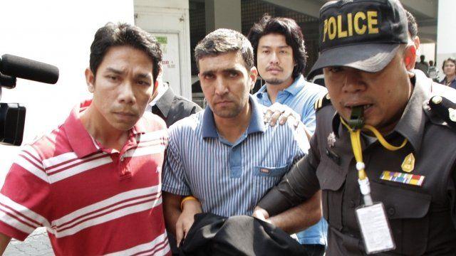 Thai police paraded suspect Mohammad Khazaei before the media