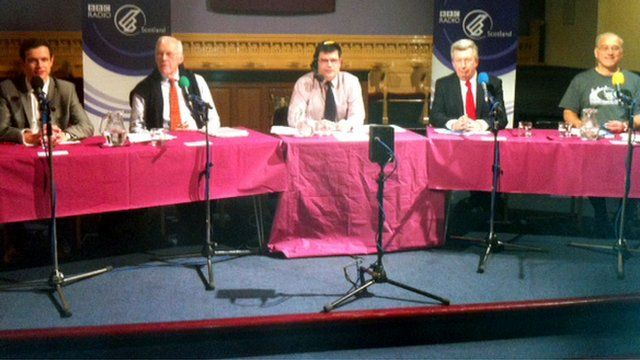Panellists on stage during the debate on Union Terrace Gardens