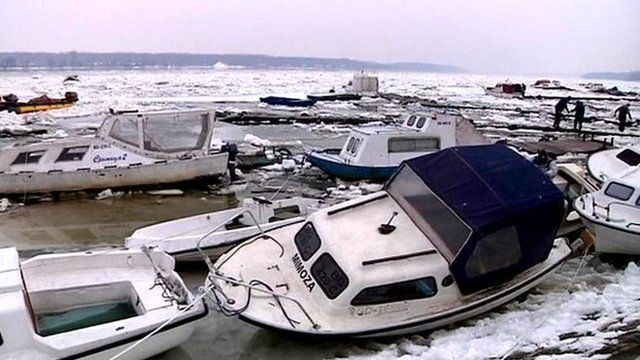 Damaged boats on the Danube