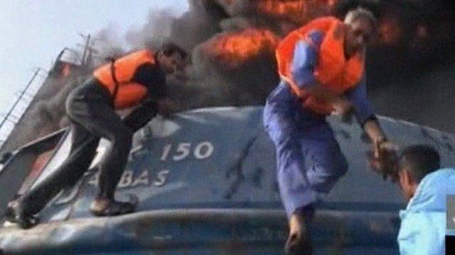 Fire on Iranian boat