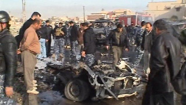 Wreckage after a car bomb