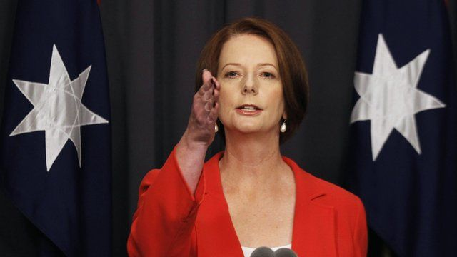 Julia Gillard gives a press conference in Canberra, Australia