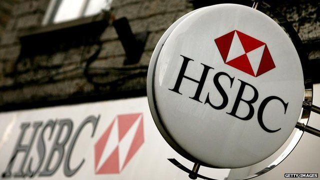HSBC signs outside a branch