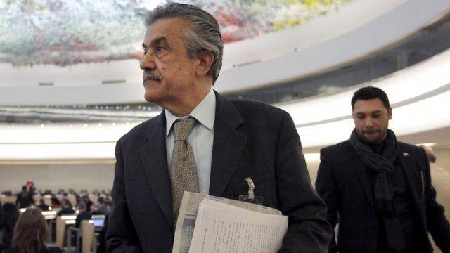 Syrian ambassador to UN Faysal Khabbaz Hamoui leaves UN Human Rights Council meeting
