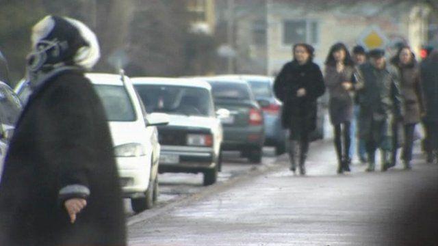 Women on street of Russian town