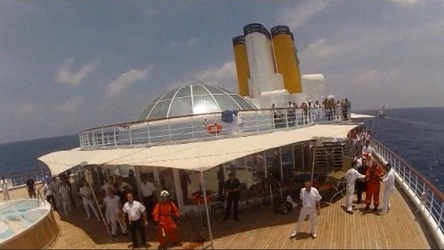 People on the deck of the Costa Allegra