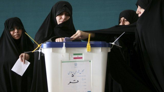 Women vote in Qom, south of Tehran