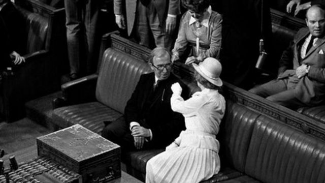 Norman St John-Stevas, with his then Conservative Party leader Margaret Thatcher at the state opening of parliament in March 1979