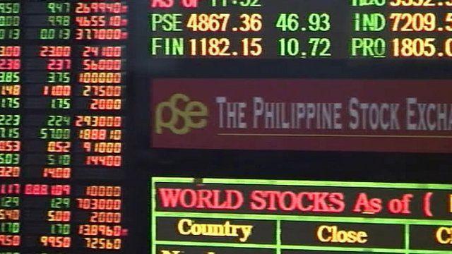Manila stock exchange share price indicator board
