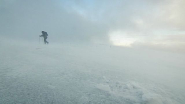 Kate Humble climbing a snowy mountain