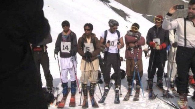 First international skiing competition in Bamiyan in Afghanistan.