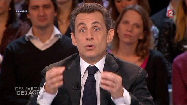 President Sarkozy appears on French television.