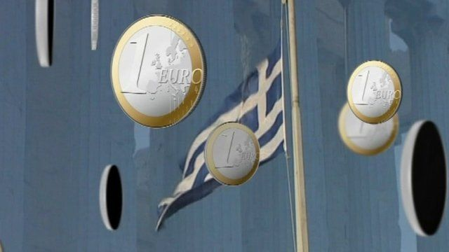 One euro coins and Greek flag