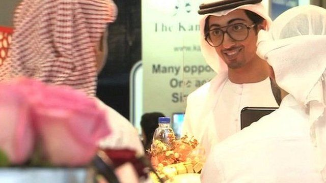 Men at Emirati job fair
