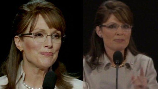 Julianne Moore as Sarah Palin, and Sarah Palin