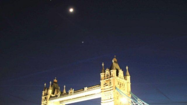 Astronomer Francisco Diego's still of Venus and Jupiter over London