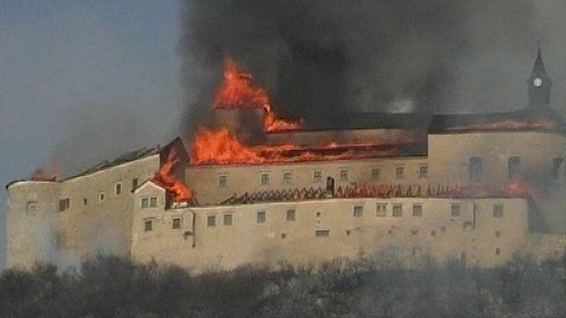 Flames and smoke above Krasna Horka